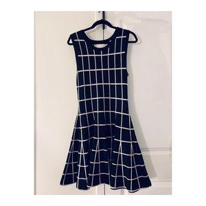 J.O.A Black & White Plaid Mini Sweater Dress